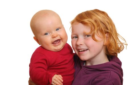 Girl with her baby sibling