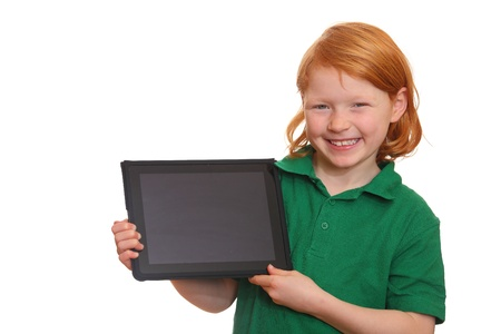 Smiling red haired girl presents her new tablet computer