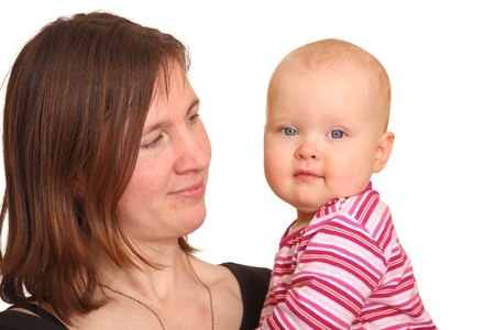 Portrait of a happy mother with baby Stock Photo - 9031884