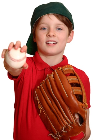 Portrait of a young baseball player showing a baseball photo
