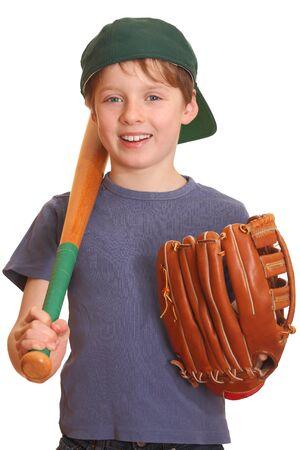 guante de beisbol: Retrato de un joven beisbolista. Foto de archivo