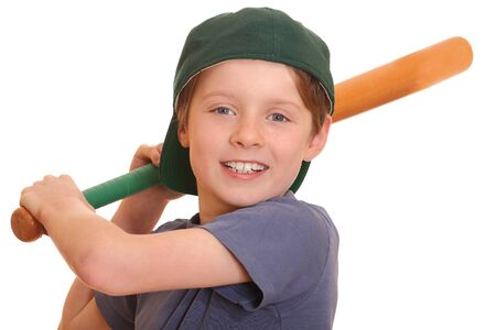 Portrait of a young baseball player swinging his bat