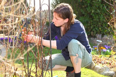 Portrait of a young woman working in the garden Stock Photo