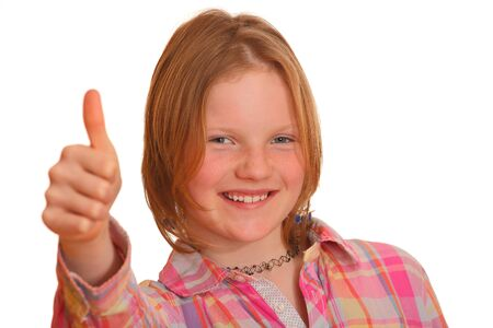 Portrait of a young blond teenage girl with thumbs up photo
