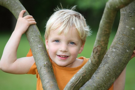 Portrait of a young boy in the garden Stock Photo