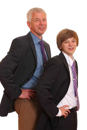Father and son wearing business suits photo