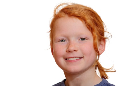 Portrait of a red haired girl isolated on white background