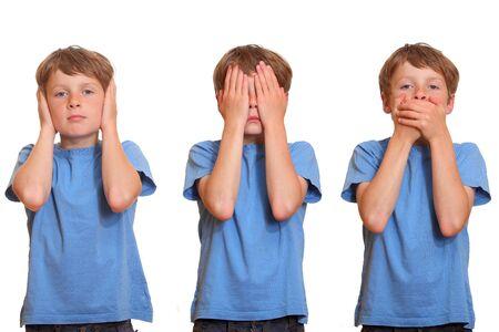 hands covering eyes: hear no evil - see no evil - speak no evil