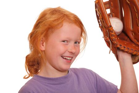 Red haired girl holding a baseball photo