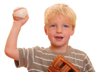 guante de beisbol: Joven con una pelota de b�isbol Foto de archivo