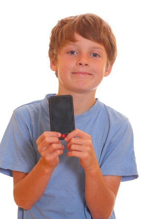 Portrait of a happy young boy showing his new smartphone