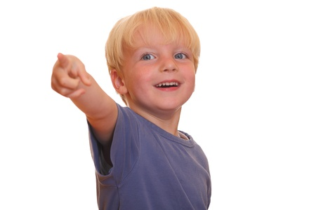 Portrait of a young boy pointing with his finger Stock Photo - 10022719