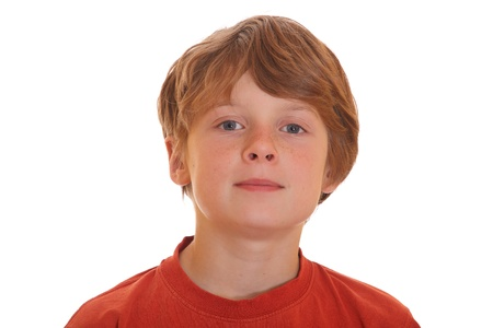 Portrait of a teenage boy on white background photo