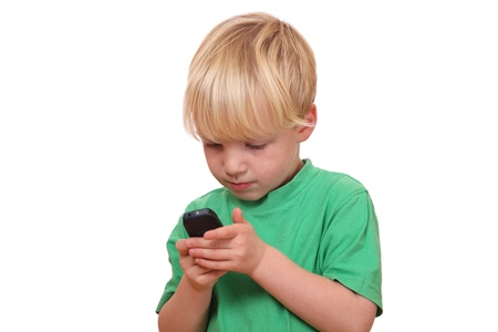 celulas humanas: Retrato de un joven jugando con su nuevo tel�fono celular Foto de archivo