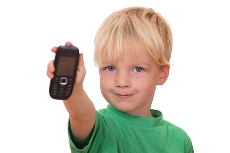 Portrait of a young boy presenting his new cell phone Stock Photo