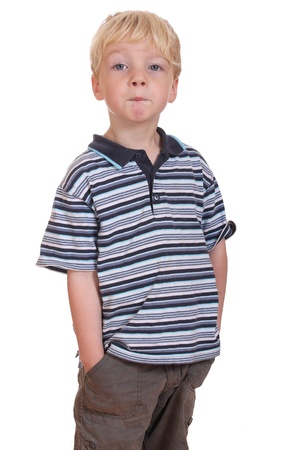 Portrait of a funny preschooler on white background photo