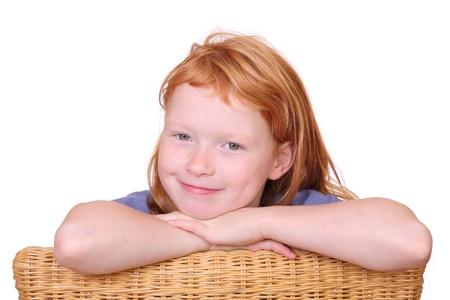 red haired girl: Ritratto di una ragazza dai capelli rossi sorridente