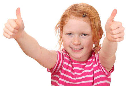 Portrait of a red haired girl with thumbs up photo