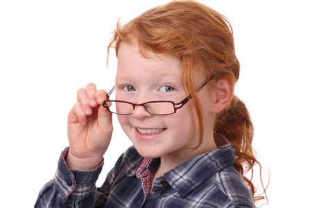 Portrait of a young girl wearing glasses on white background  Stock Photo - 12030151