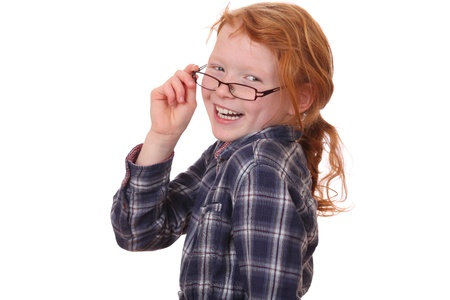 Portrait of a young girl wearing glasses on white background  photo