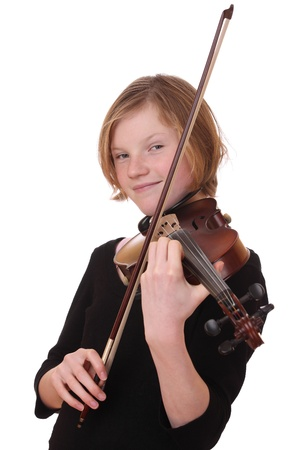 Portrait of a young girl with violin on white background Stock Photo