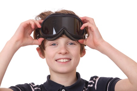 Portrait of a young boy wearing ski goggles isolated on white background Stock Photo - 12576131