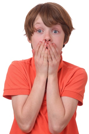 surprised child: Portrait of a frightened boy covering his mouth