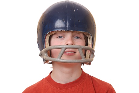 Boy with football helmet on white background Stock Photo - 13323369