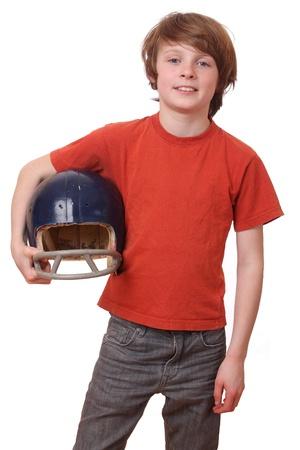 Boy with football helmet on white background photo