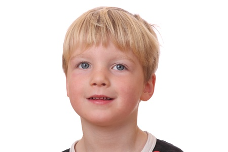 Portrait of a young blond boy on white background Stock Photo