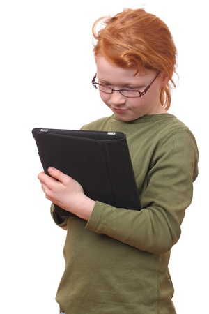 Young girl with tablet computer on white background photo