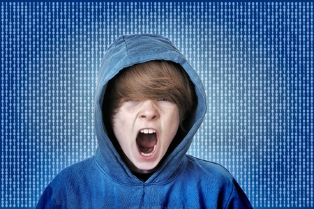 Screaming teenage boy caught in the matrix photo