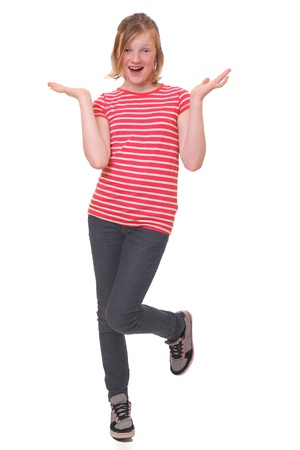 Clueless young girl standing on one foot Stock Photo