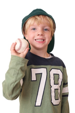 Portrait of a young baseball player on white background photo