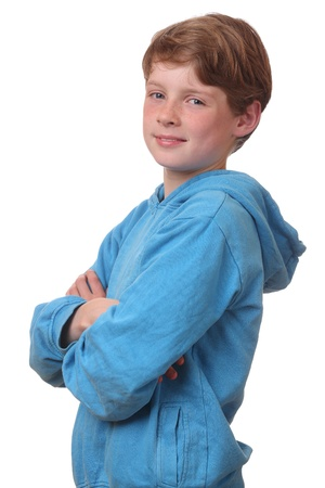 Portrait of a confident young boy on white background Stock Photo