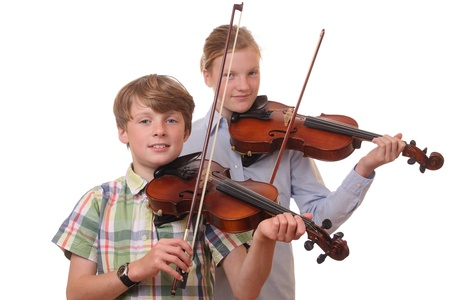 Portrait of a boy and a girl playing violin on white background Stock Photo