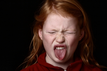 girl tongue: Angry young girl