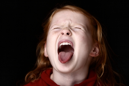 mouth  open: Screaming young girl