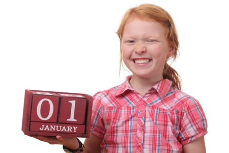 Young girl reminds of first of january photo