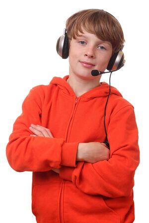 Young boy wearing headphone with microphone on white background Stock Photo - 15692232