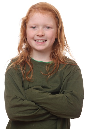 Portrait of a happy young girl on white background Stock Photo - 16690023