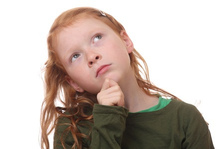 Portrait of a thinking young girl on white background Stock Photo - 16690019