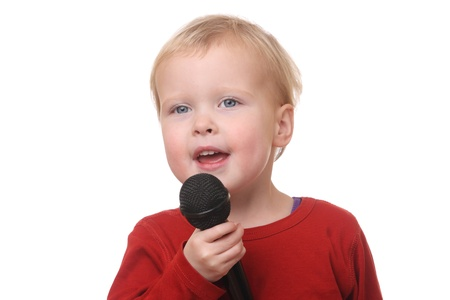 Young toddler with microphone on white background Stock Photo - 16690011