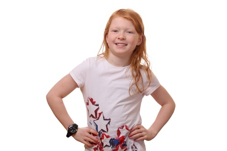 Portrait of a confident young girl with hands on her hips Stock Photo - 17330049