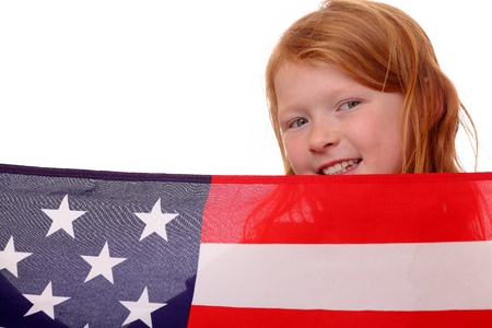 Portrait of a young girl with USA flag photo