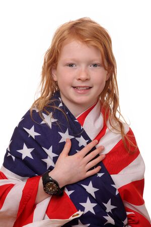 Portrait of a young girl with USA flag Stock Photo - 17342156