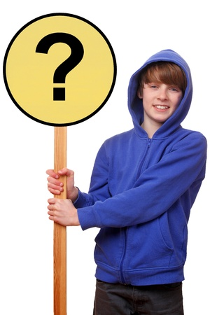 Portrait of a teenager holding a question sign on white background photo