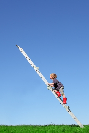Young boy climbs a ladder on green meadow with blue sky Zdjęcie Seryjne