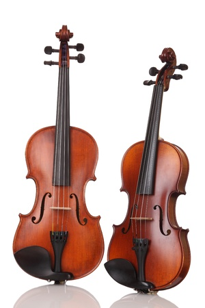 violins: Two Violins on white background Stock Photo