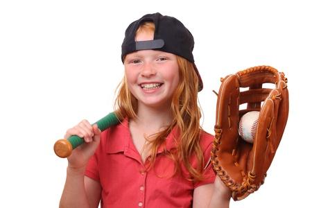 ballplayer: Happy red haired baseball girl on white background